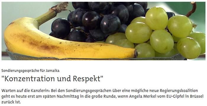 Banane, schwarze Trauben und grüne Trauben