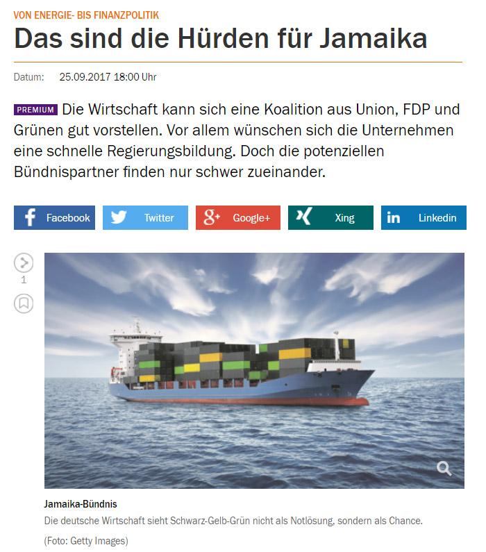 Schiff mit schwarzen, gelben und grünen Containern