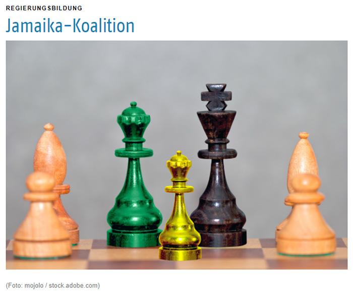 Grüne, gelbe und schwarze Schachfiguren