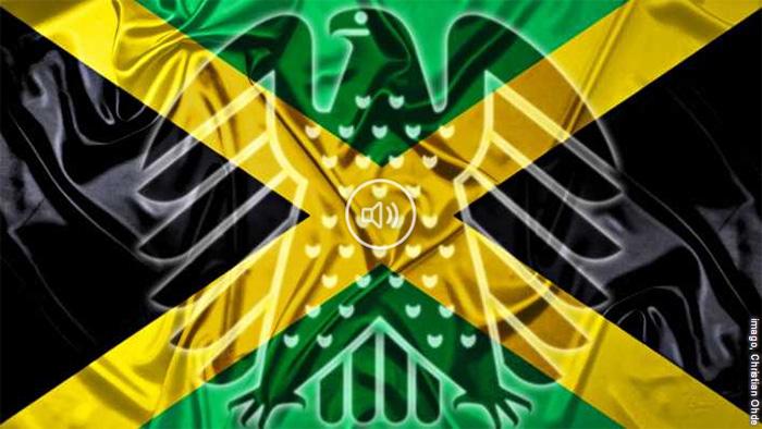 Gephotoshoppte Jamaika-Flagge mit einem Bundesadler darauf