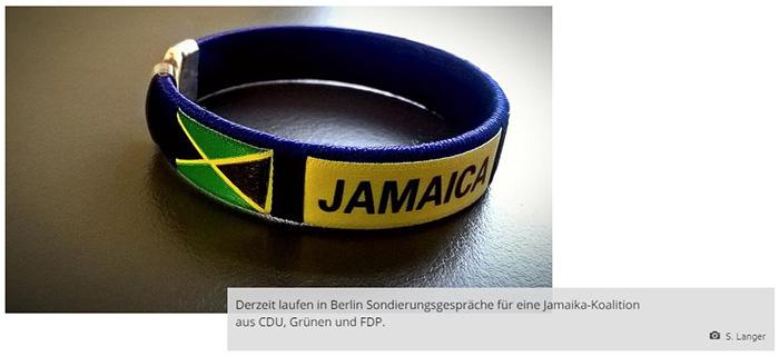 """Armband mit einer Aufgedruckten Jamaika-Flagge und der Aufschrift """"Jamaica"""""""