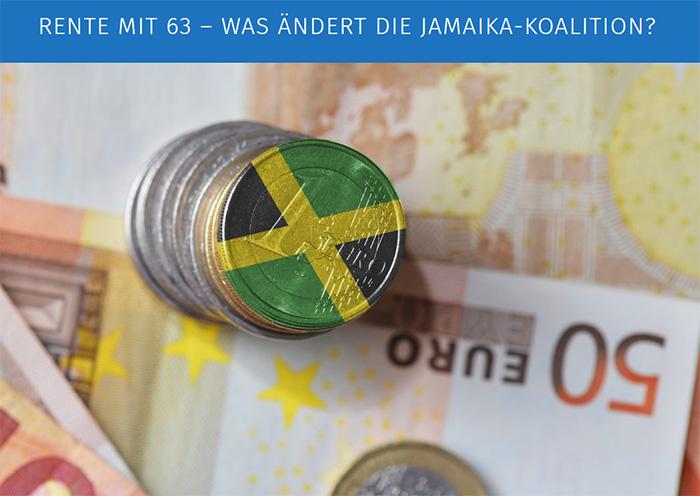 1-Euro-Münze mit aufgemalter Jamaika-Flagge