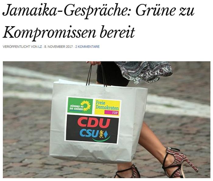 Frau, die eine Papiertüte trägt, auf die die Logos von CDU/CSU, FDP und Grünen gedruckt ist