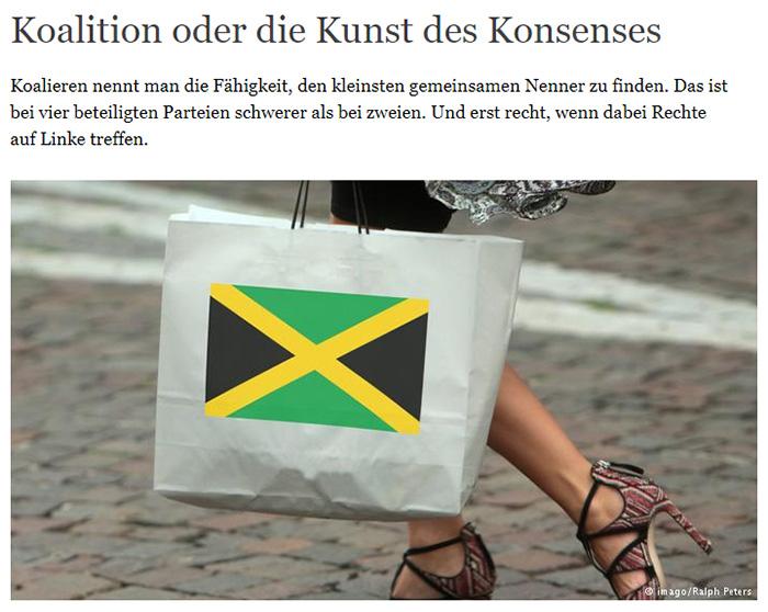 Frau, die eine Papiertüte trägt, auf die eine Jamaika-Flagge gedruckt ist