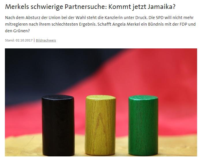 Schwarzes, grünes und gelbes Holzklötzchen vor einer Deutschlandflagge