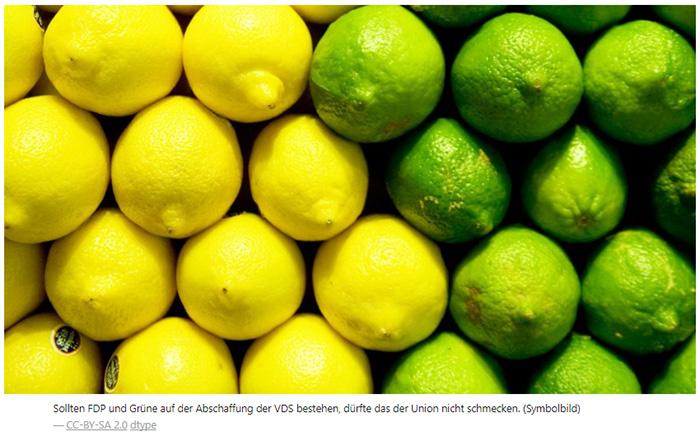 """Gestapelte Zitronen und Limetten, dazu die Bildunterschrift: """"Sollten FDP und Grüne auf der Abschaffung der VDS bestehen, dürfte das der Union nicht schmecken. (Symbolbild)"""""""