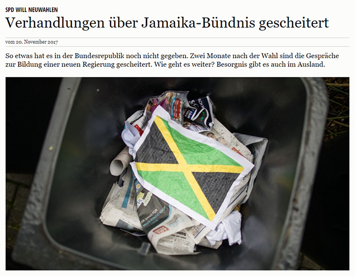 Jamaika-Flagge im Mülleimer