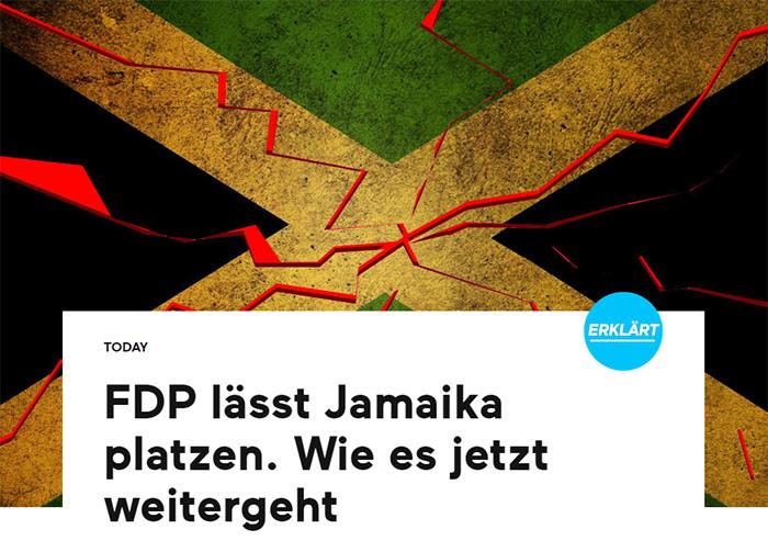 Jamaika-Flagge mit roten, zackigen Linien darauf