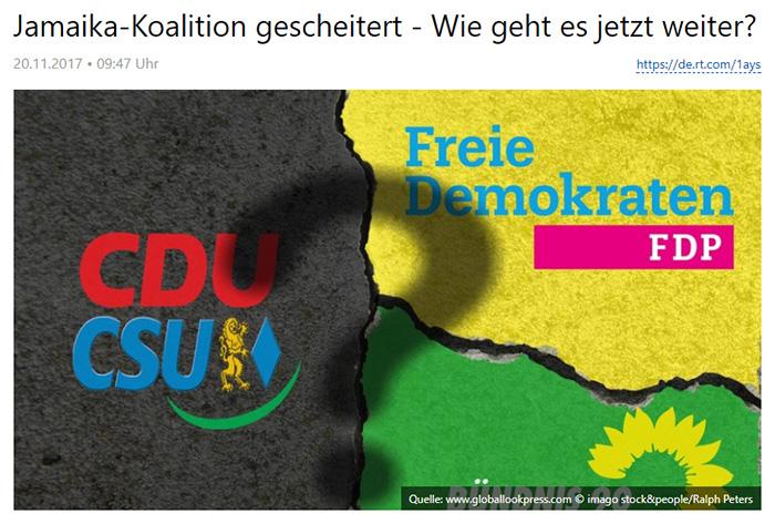 Eine in drei Teile zerbrochene Straße (ein Teil ist grün, ein Teil schwarz, ein Teil gelb, darauf jeweils die Logos von CDU/CSU, FDP und Grünen), in der Mitte ein Fragezeichen