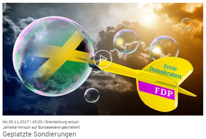 Ein gelber Dartpfeil mit dem FDP-Logo fliegt in eine Seifenblase, in der eine Jamaika-Flagge schimmert