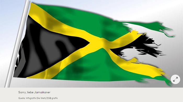 Eine halb-zerfledderte Jamaika-Flagge, die im Wind weht