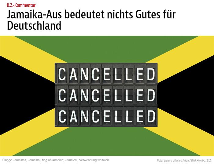 """Jamaika-Flagge, auf der dreimal übereinander """"CANCELLED"""" zu lesen ist (wie am Flughafen)"""