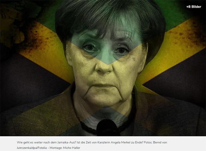Angela Merkel, die erschöpft-überrascht dreinschaut, darüber ist (per Photoshop) eine Jamaika-Flagge gelegt worden, die an den Seiten anfängt zu kokeln