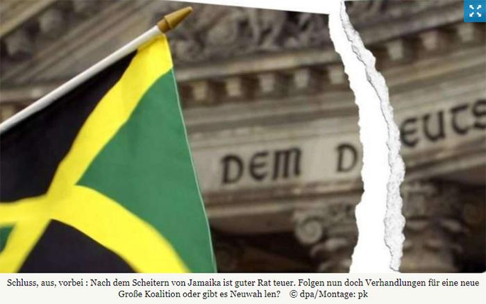 Foto einer Jamaika-Flagge vor dem Reichstagsgebäude, das Foto ist allerdings durchgerissen