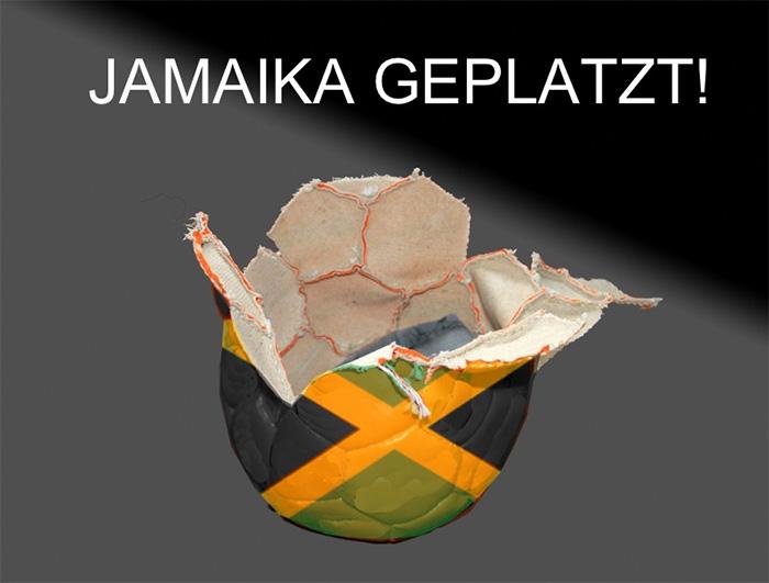 """Ein geplatzter Ball in Jamaika-Farben, dazu die Überschrift: """"JAMAIKA GEPLATZT!"""""""