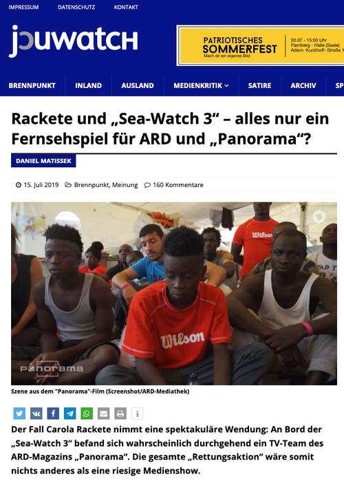 """Rackete und """"Sea Watch 3"""" - alles nur ein Fernsehspiel für ARD und """"Panorama""""?"""
