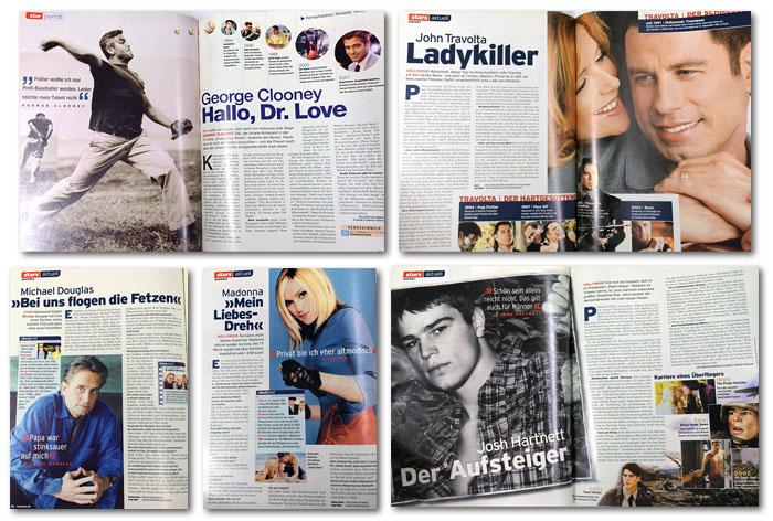 Interviews mit George Clooney, John Travolta, Michael Douglas, Madonna und Josh Hartnett