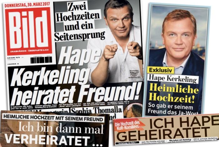 """bd52e7036bd0b7 Bei """"Bild"""" und """"Bunte"""" steht es sogar groß auf den Titelseiten. """"Heimliche  Hochzeit"""", schreiben sie, """"Hape Kerkeling heiratet Freund"""", """"gelandet im  Hafen ..."""