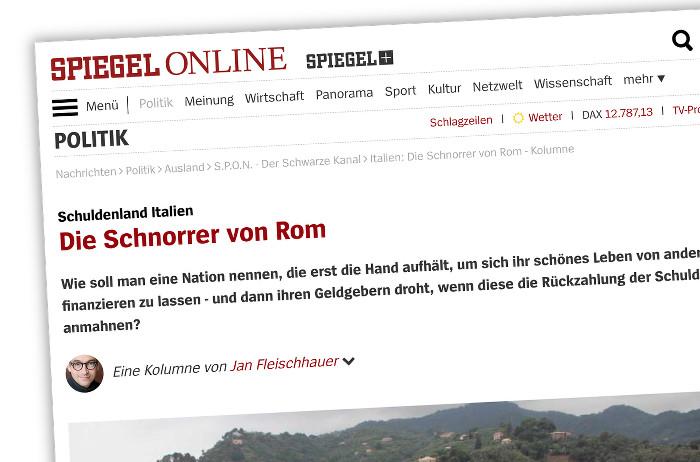 """Screenshot einer Kolumne mit dder Überschrift: """"Die Schnorrer von Rom"""""""