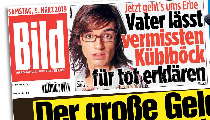 """Schlagzeile auf der """"Bild""""-Titelseite: """"Jetzt geht's ums Erbe - Vater lässt vermissten Küblböck für tot erklären"""""""