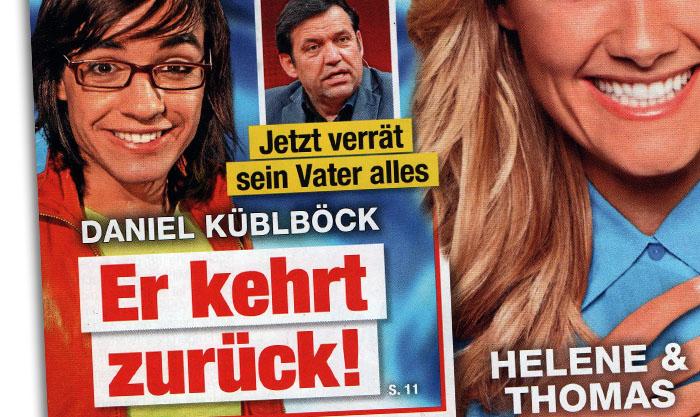 """Schlagzeile: """"Jetzt verrät sein Vater alles - Daniel Küblböck - Er kehrt zurück!"""""""