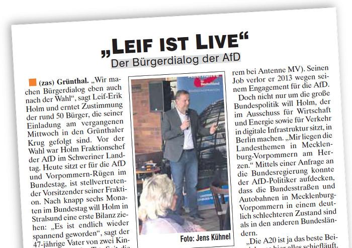 """Artikel mit der Überschrift """"Leif ist live"""" und einem kleinen Foto des AfD-Abgeordneten, wie er vor Publikum redet."""