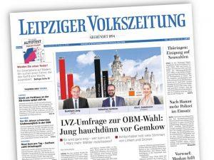 Titel der Leipziger Volkszeitung mit den drei Kandidatinnen zur Oberbürgermeisterwahl
