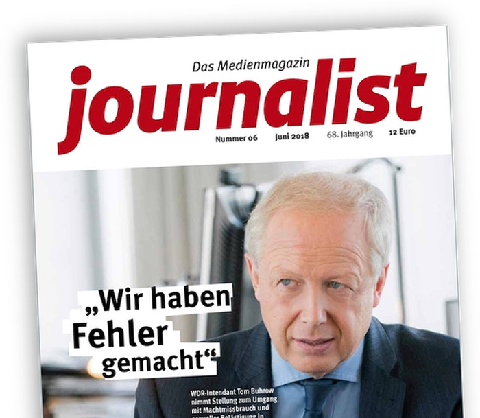 """Titelseite des Magazins """"Journalist"""" mit einem Foto von Tom Buhrow im Gespräch, Schlagzeile: """"Wir haben Fehler gemacht"""""""