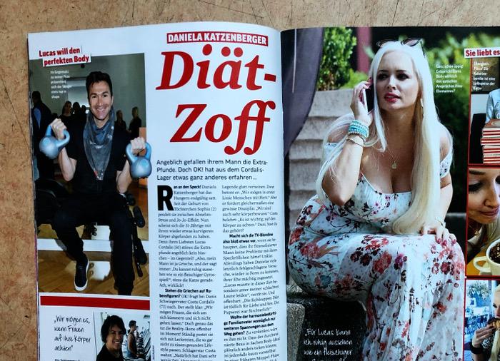 """Doppelseite mit Fotos von Lucas Cordalis und Daniela Katzenberger, Überschrift: """"Doät-Zoff"""""""