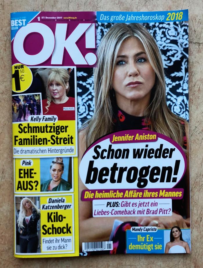 """Titelseite mit dem Foto von Jennifer Aniston, Überschrift: """"Schon wieder betrogen!"""""""
