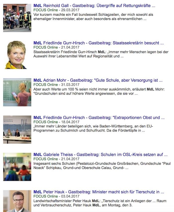 """Google-Treffer: Viele Landtags-Abgeordnete nutzen """"Focus Online"""" für ihre Mitteilungen"""
