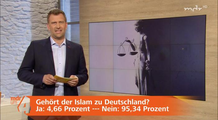 Moderator im Studio und das eingeblendete Ergebnis der Islam-Umfrage.