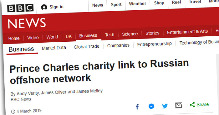 "Schlagzeile der BBC: ""Prince Charles charity link to Russian offshore network"""