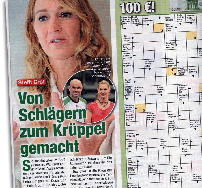 Schlagzeile: Steffi Graf - Von Schlägern zum Krüppel gemacht