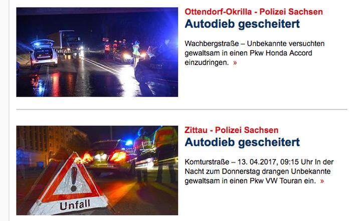 """Zwei Meldungen aus verschiedenen Orten über gescheiterte Autodiebstähle bei """"Focus Online"""". Die Überschrift ist identisch: """"Autodieb gescheitert"""""""