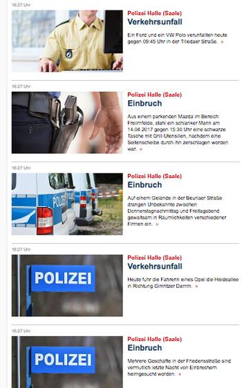 """Übersicht mit Meldungen der Polizei Halle (Saale) auf """"Focus Online"""", die teilweise die selben Überschriften tragen und mit teils identischen Fotos illustriert sind."""