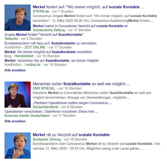 Google-Suchergebnisse zu Angela Merkel
