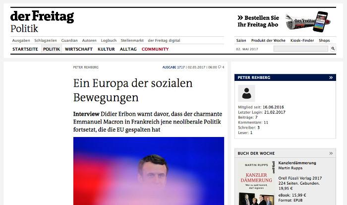 """Screenshot des wieder gelöschten Interviews mit Didier Eribon in der Wochenzeitung """"Der Freitag"""""""