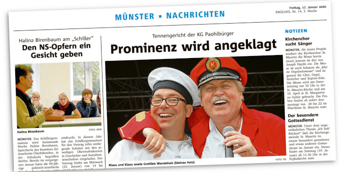 """Eine Lokalseite der """"Münsterschen Zeitung"""""""