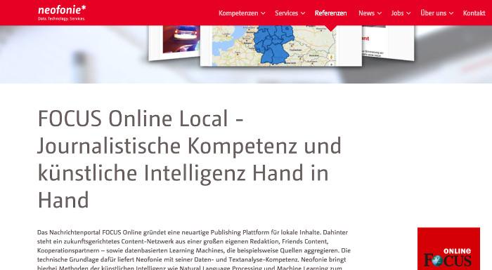 """Neofonie-Werbung für """"Focus Online"""", Text: """"Focus Online Local – journalistische Kompetenz und künstliche Intelligenz Hand in Hand"""""""