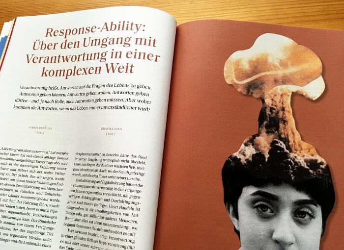Links Text, rechts eine Frau, aus deren Kopf ein Atompilz steigt.