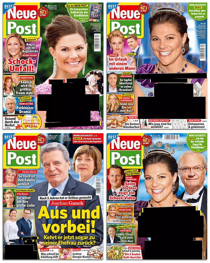 """Vier Cover der """"Neuen Post"""", auf denen die Titelschlagzeilen zu Victoria geschwärzt wurden"""