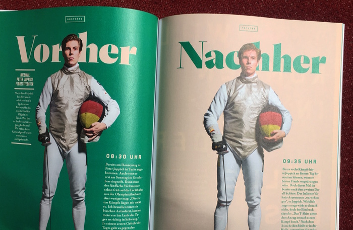 """Doppelseite aus dem Magazin """"No Sports"""", die einen Fechter vor und nach zwei Duellen zeigt."""