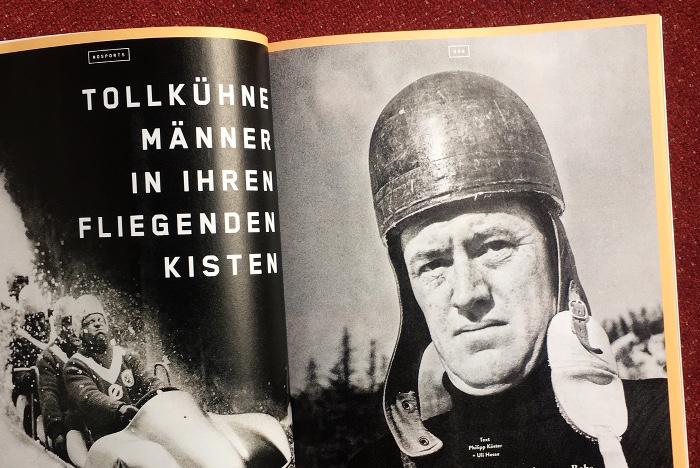 """Doppelseite aus dem Magazin """"No Sports"""" mit einer Geschichte über den Rennfahrer Kamikaze-Gustl Reiner."""