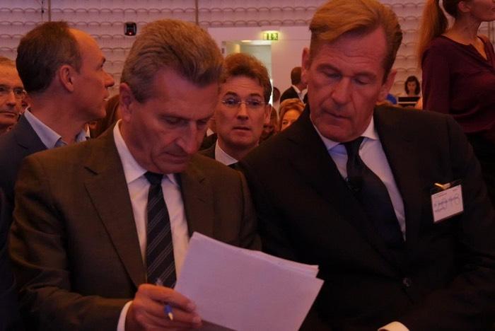 EU-Kommissar Günther Oettinger und BDZV-Präsident Mathias Döpfner