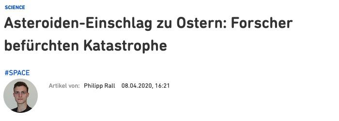 Asteroiden-Einschlag zu Ostern: Forscher befürchten Katastrophe