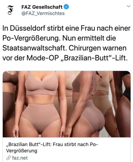 """In Düsseldorf stirbt eine Frau nach Po-Vergrößerung. Nun ermittelt die Staatsanwaltschaft. Chirurgen warnen vor der Mode-OP """"Brazilian-Butt""""-Lift."""