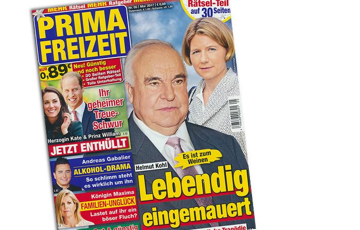 """Cover der Zeitschrift """"Prima Freizeit"""" mit Helmut Kohl, Schlagzeile: """"Lebendig eingemauert"""""""