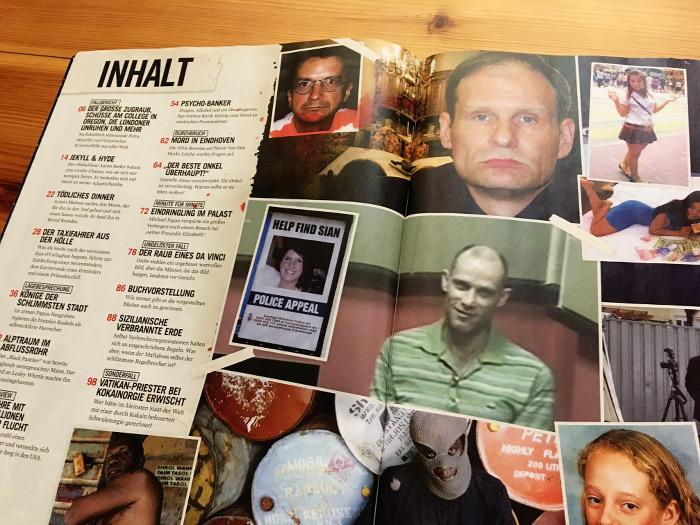 Inhaltsverzeichnis mit vielen Fotos von Verbrechern.