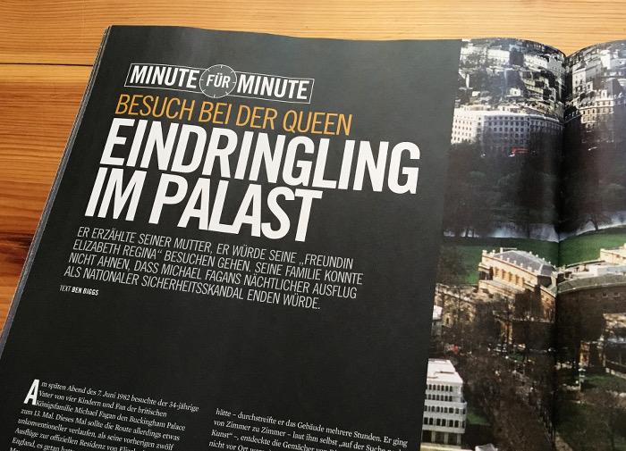 """Große Überschrift neben einem Foto: """"Eindringling im Palast"""""""